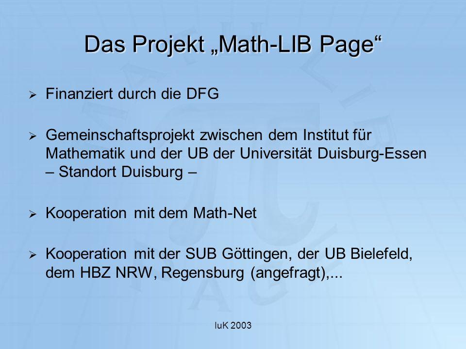 "Das Projekt ""Math-LIB Page"