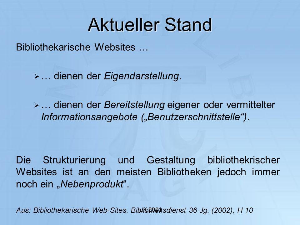 Aktueller Stand Bibliothekarische Websites …