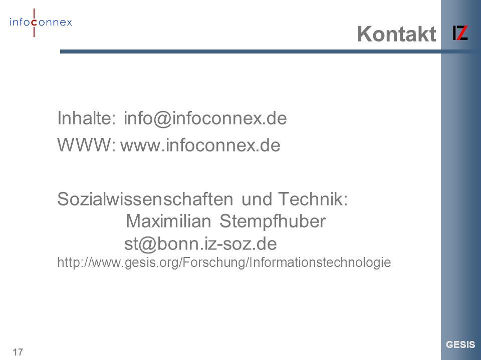 Kontakt Inhalte: info@infoconnex.de WWW: www.infoconnex.de