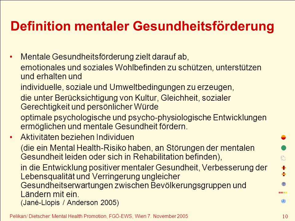 Definition mentaler Gesundheitsförderung