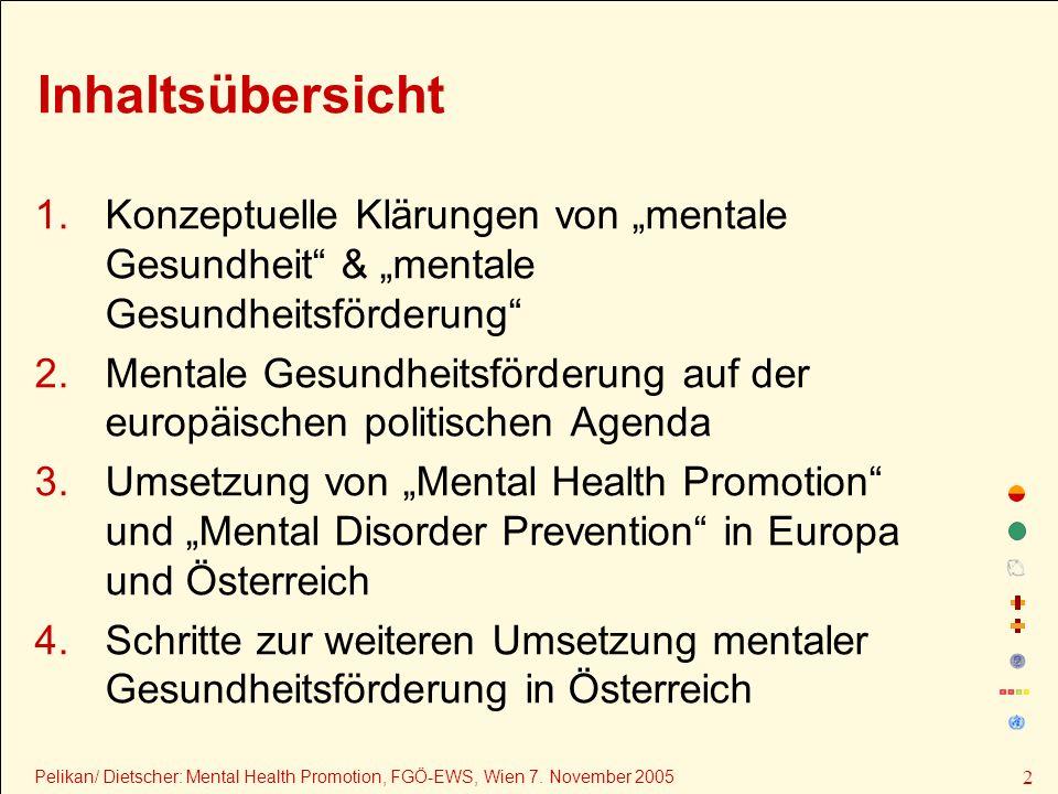 """Inhaltsübersicht Konzeptuelle Klärungen von """"mentale Gesundheit & """"mentale Gesundheitsförderung"""
