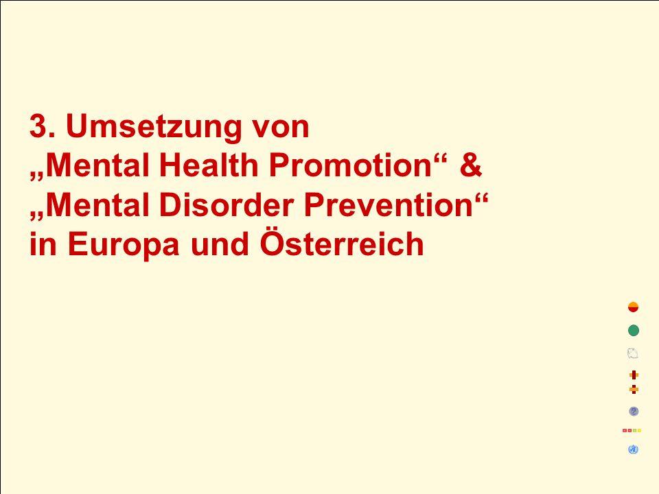"""3. Umsetzung von """"Mental Health Promotion & """"Mental Disorder Prevention in Europa und Österreich"""
