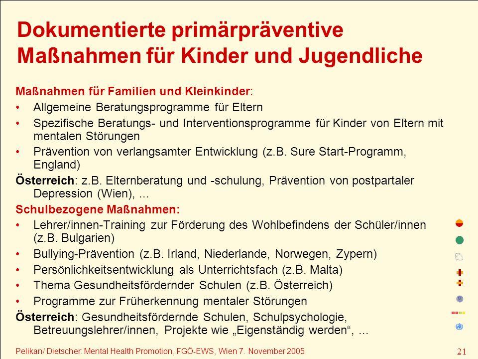 Dokumentierte primärpräventive Maßnahmen für Kinder und Jugendliche
