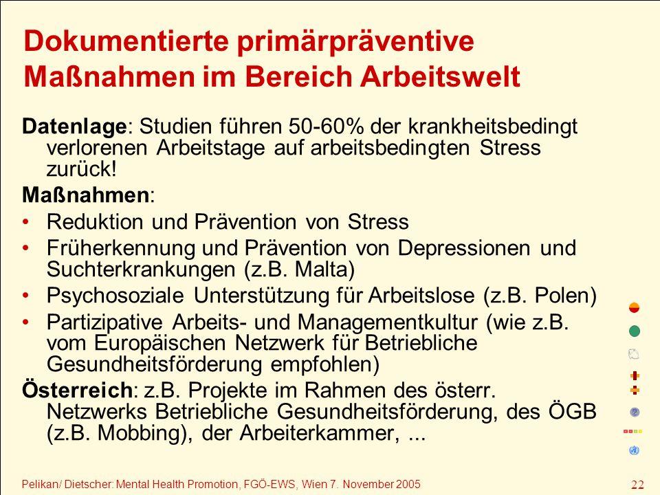 Dokumentierte primärpräventive Maßnahmen im Bereich Arbeitswelt