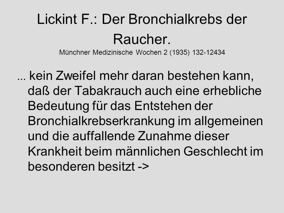 Lickint F. : Der Bronchialkrebs der Raucher