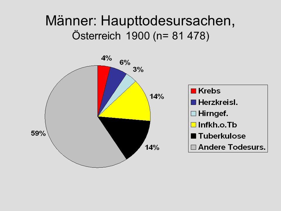 Männer: Haupttodesursachen, Österreich 1900 (n= 81 478)