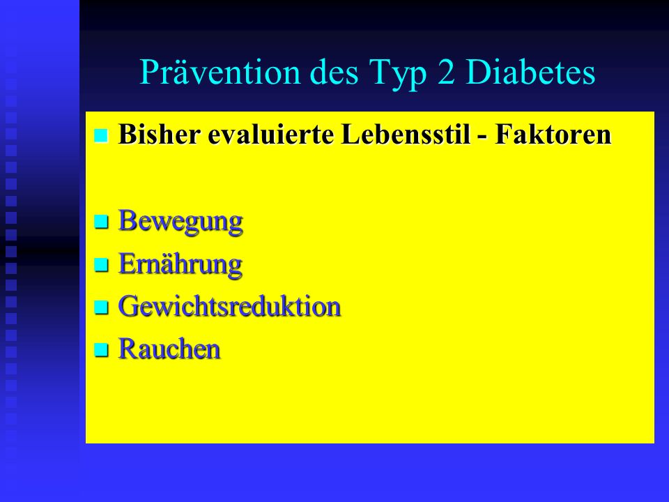 Prävention des Typ 2 Diabetes