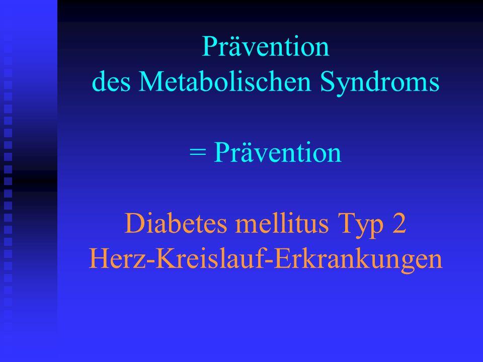 Prävention des Metabolischen Syndroms = Prävention Diabetes mellitus Typ 2 Herz-Kreislauf-Erkrankungen