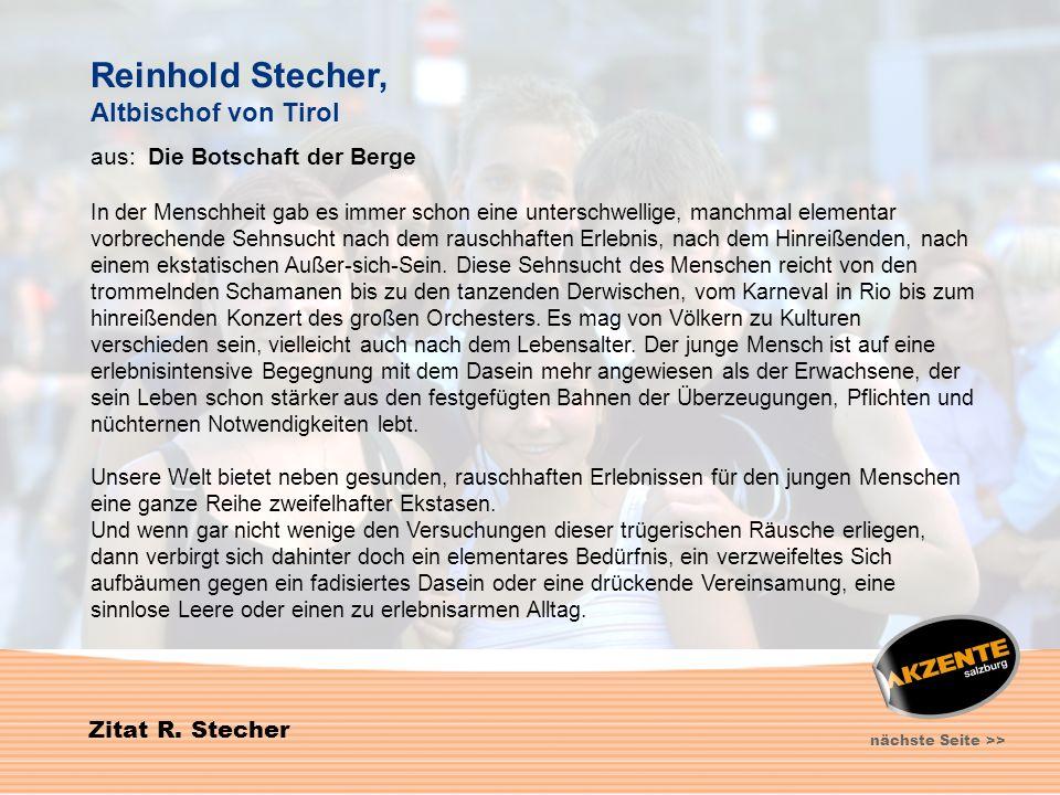Reinhold Stecher, Altbischof von Tirol aus: Die Botschaft der Berge
