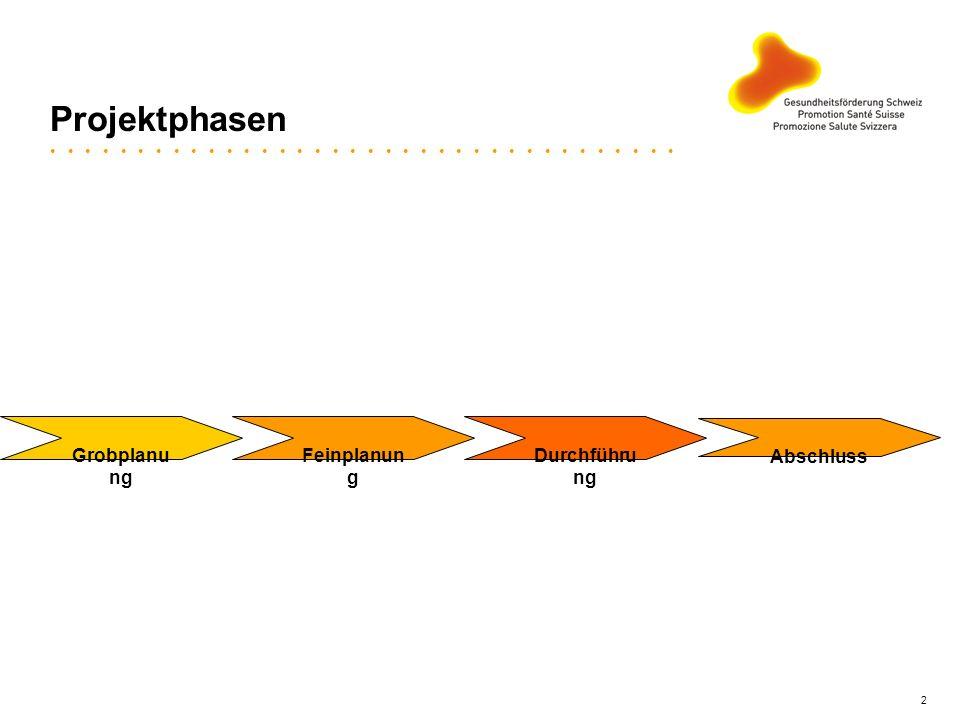 Projektphasen Grobplanung Feinplanung Durchführung Abschluss