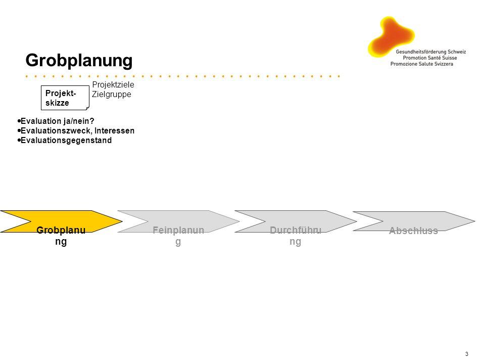 Grobplanung Grobplanung Feinplanung Durchführung Abschluss