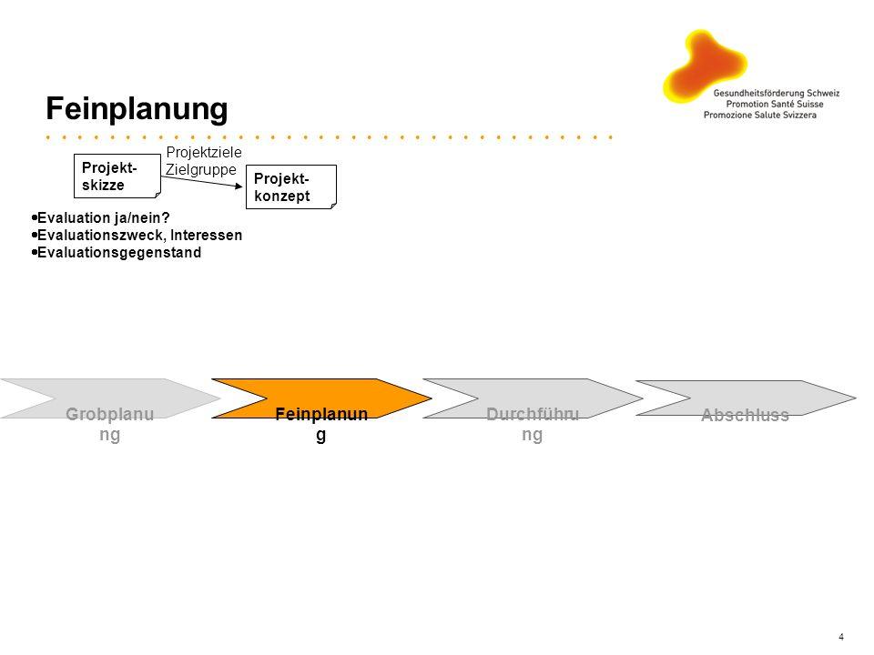 Feinplanung Grobplanung Feinplanung Durchführung Abschluss