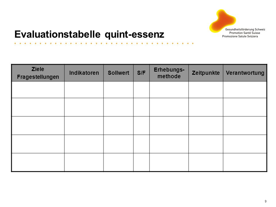 Evaluationstabelle quint-essenz