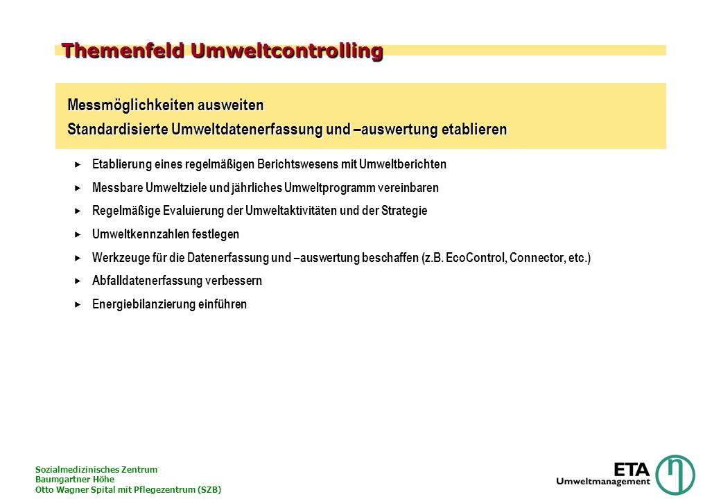 Themenfeld Umweltcontrolling