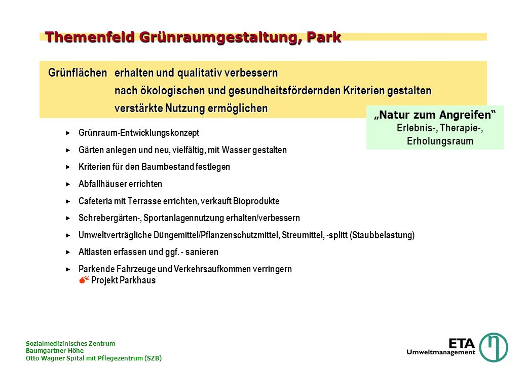 Themenfeld Grünraumgestaltung, Park