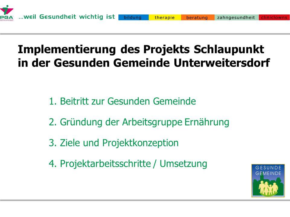 Implementierung des Projekts Schlaupunkt in der Gesunden Gemeinde Unterweitersdorf