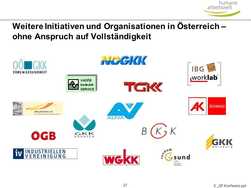 Weitere Initiativen und Organisationen in Österreich – ohne Anspruch auf Vollständigkeit