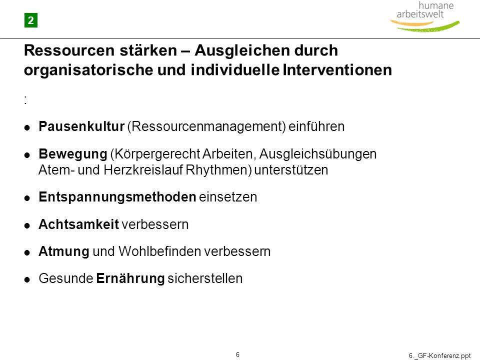 2 Ressourcen stärken – Ausgleichen durch organisatorische und individuelle Interventionen. : Pausenkultur (Ressourcenmanagement) einführen.