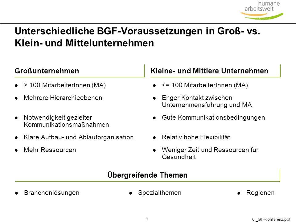 Unterschiedliche BGF-Voraussetzungen in Groß- vs
