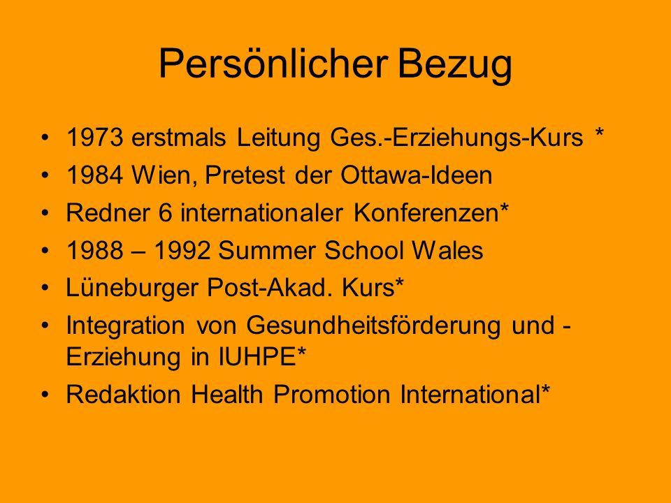 Persönlicher Bezug 1973 erstmals Leitung Ges.-Erziehungs-Kurs *