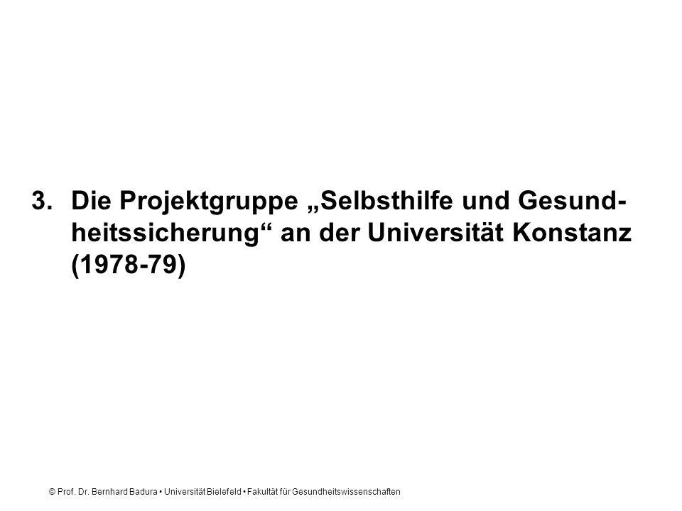 """Die Projektgruppe """"Selbsthilfe und Gesund-heitssicherung an der Universität Konstanz (1978-79)"""
