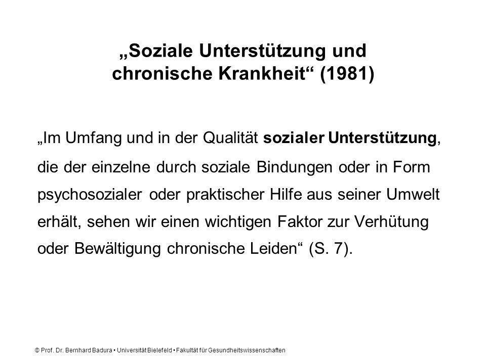 """""""Soziale Unterstützung und chronische Krankheit (1981)"""