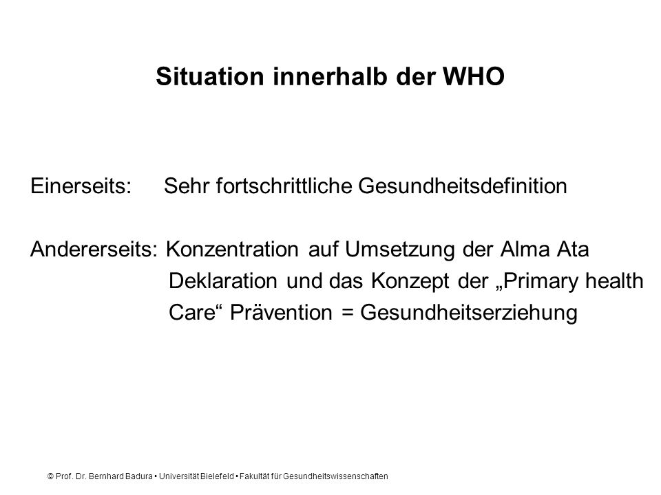 Situation innerhalb der WHO