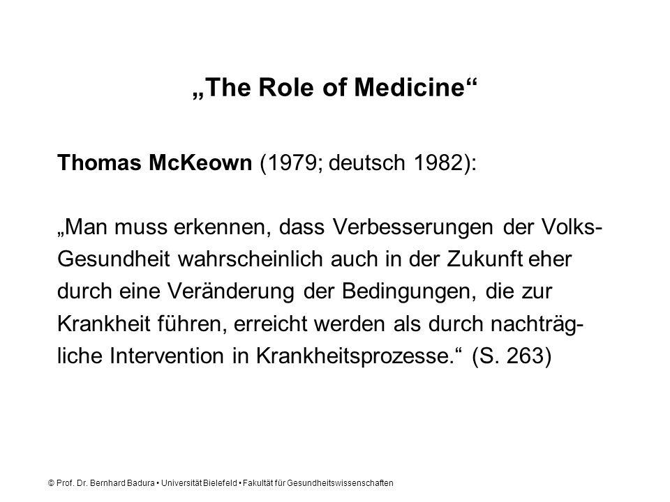 """""""The Role of Medicine Thomas McKeown (1979; deutsch 1982):"""