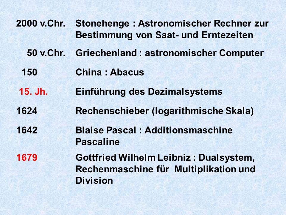 2000 v.Chr. Stonehenge : Astronomischer Rechner zur Bestimmung von Saat- und Erntezeiten. 50 v.Chr.