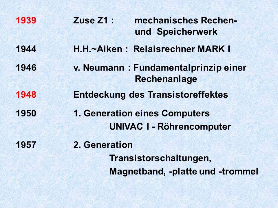 1939 Zuse Z1 : mechanisches Rechen- und Speicherwerk. 1944. H.H.~Aiken : Relaisrechner MARK I.