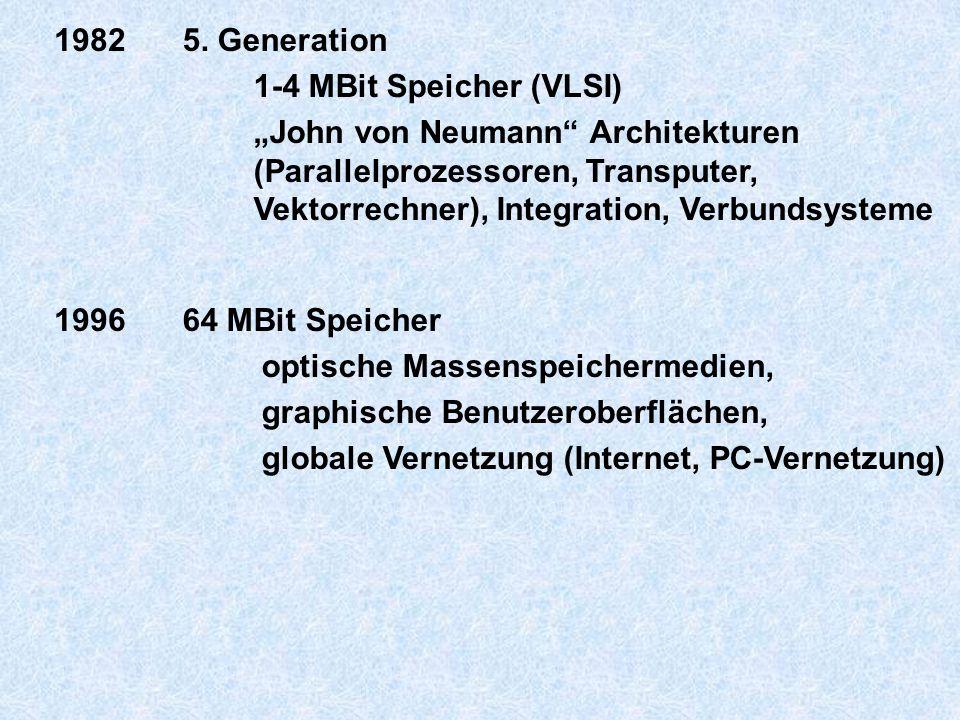 """1982 5. Generation. 1-4 MBit Speicher (VLSI) """"John von Neumann Architekturen. (Parallelprozessoren, Transputer,"""