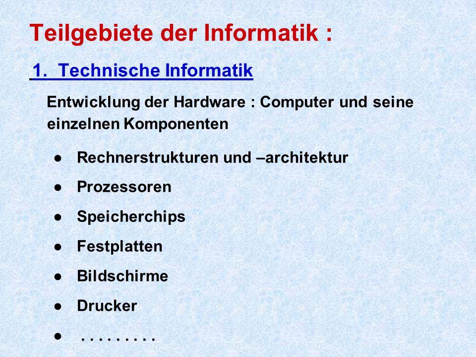 Teilgebiete der Informatik :
