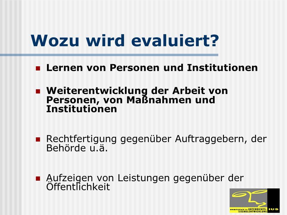 Wozu wird evaluiert Lernen von Personen und Institutionen