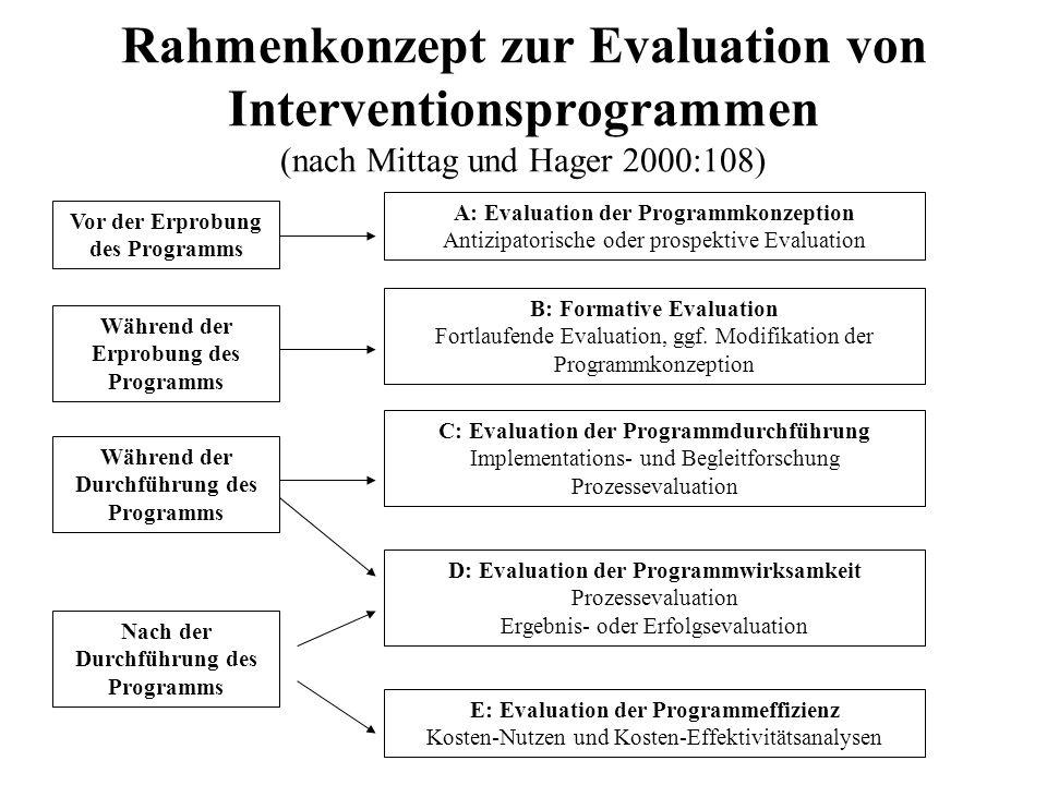 Rahmenkonzept zur Evaluation von Interventionsprogrammen (nach Mittag und Hager 2000:108)