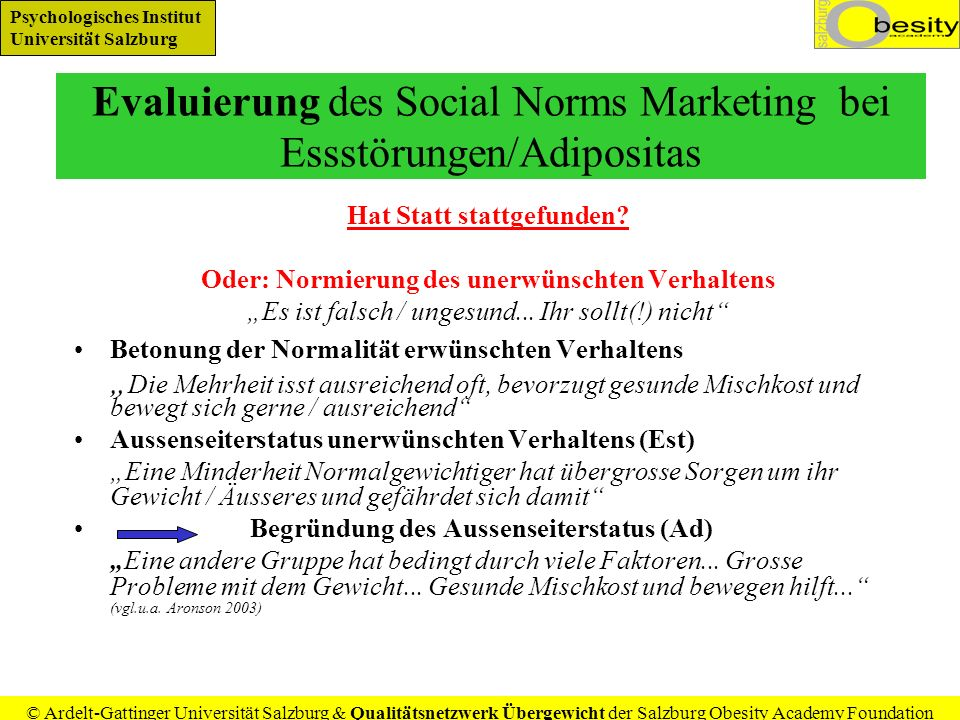 Evaluierung des Social Norms Marketing bei Essstörungen/Adipositas