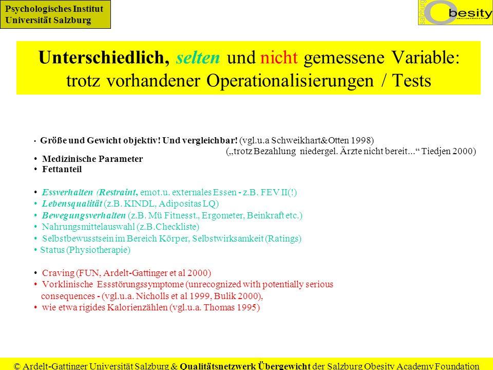 Unterschiedlich, selten und nicht gemessene Variable: trotz vorhandener Operationalisierungen / Tests