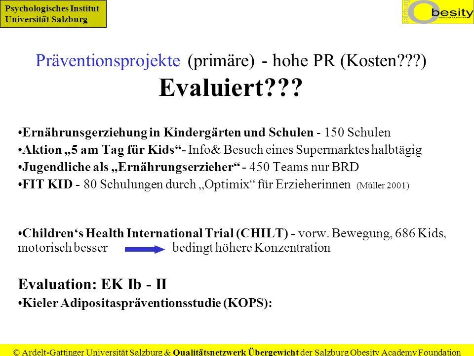 Präventionsprojekte (primäre) - hohe PR (Kosten ) Evaluiert