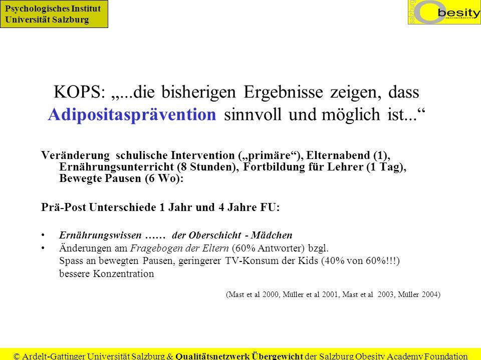 """KOPS: """"...die bisherigen Ergebnisse zeigen, dass Adipositasprävention sinnvoll und möglich ist..."""
