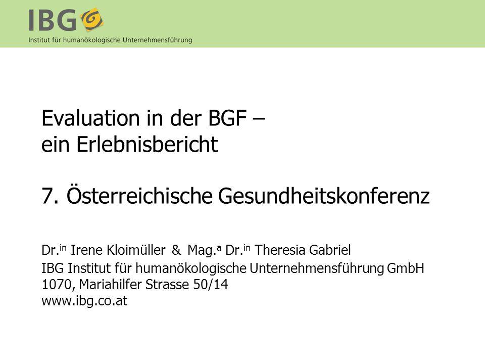 Evaluation in der BGF – ein Erlebnisbericht 7
