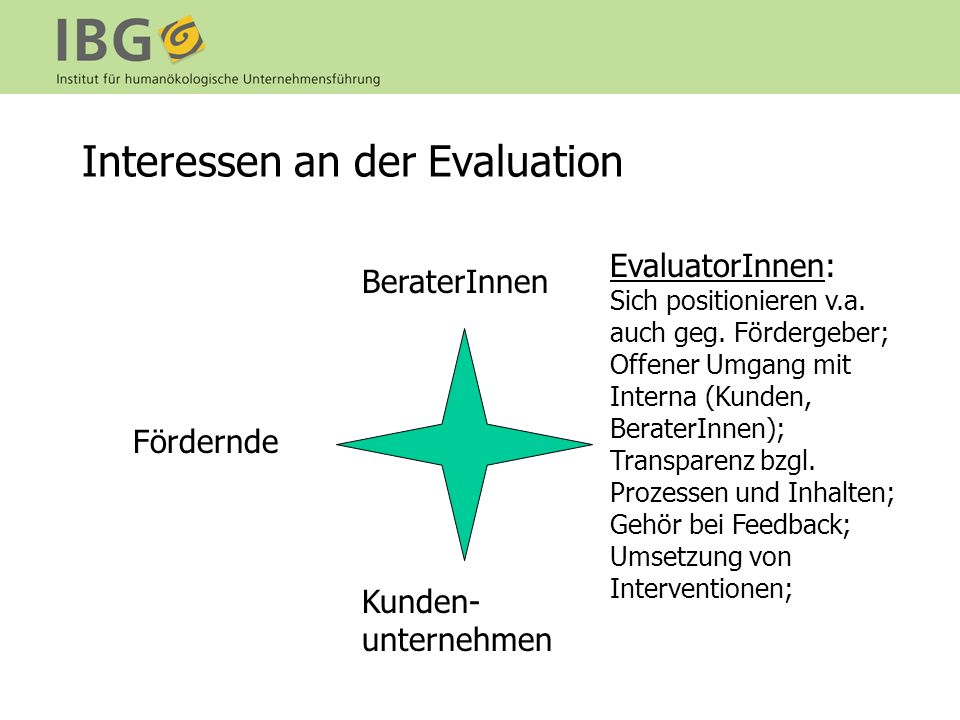 Interessen an der Evaluation