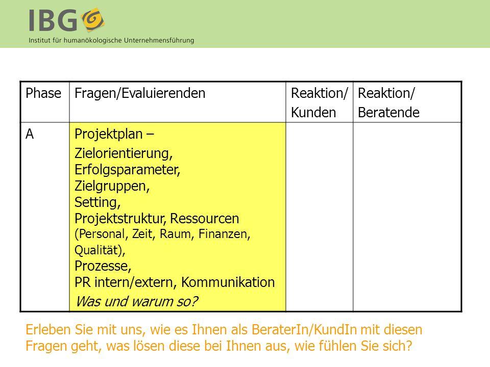 Phase Fragen/Evaluierenden. Reaktion/ Kunden. Beratende. A. Projektplan –