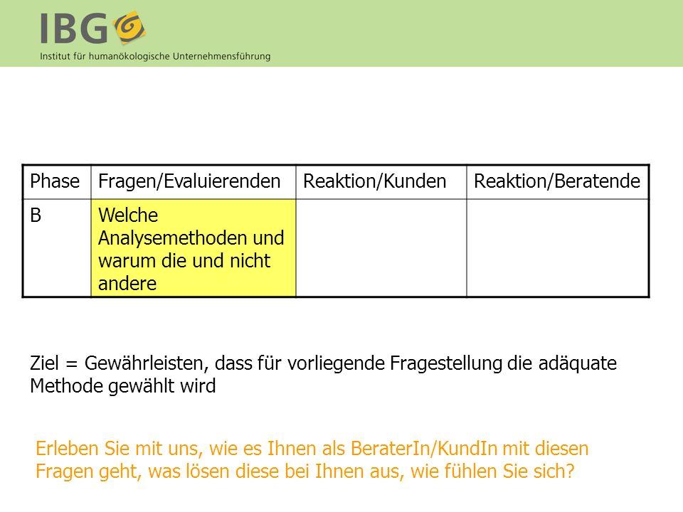 Phase Fragen/Evaluierenden. Reaktion/Kunden. Reaktion/Beratende. B. Welche Analysemethoden und warum die und nicht andere.