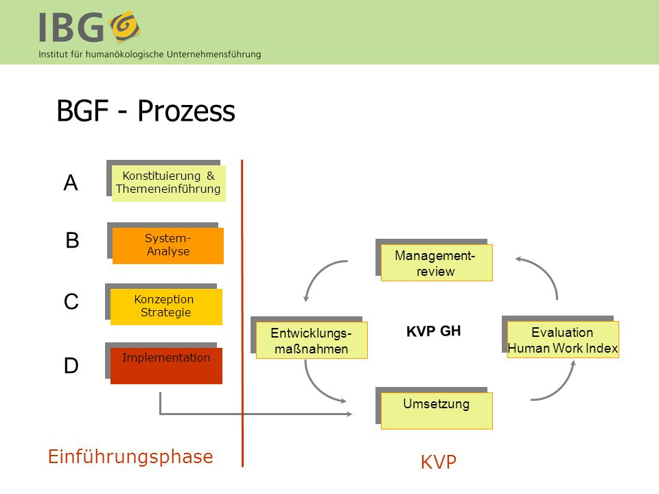 BGF - Prozess A B C D Einführungsphase KVP KVP GH Management- review