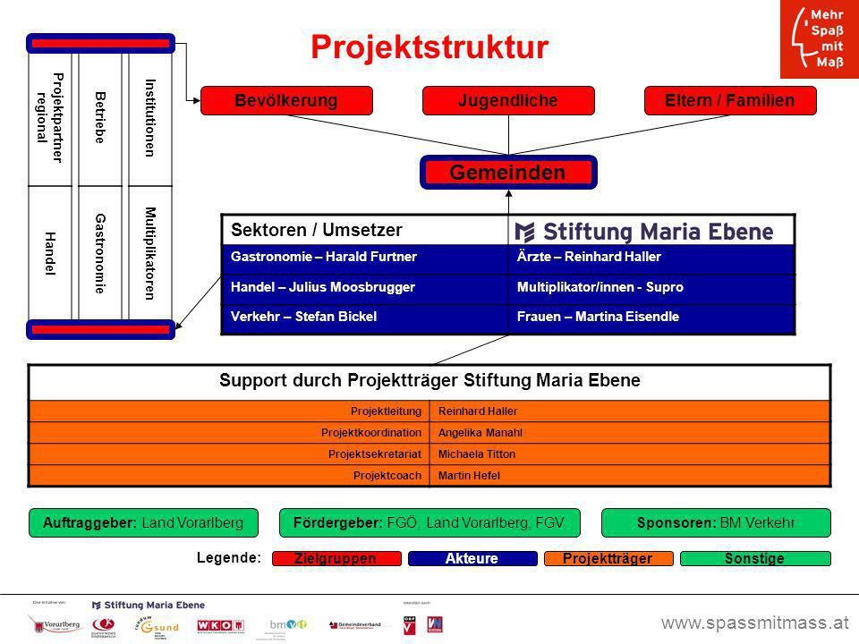 Projektstruktur Gemeinden Sektoren / Umsetzer