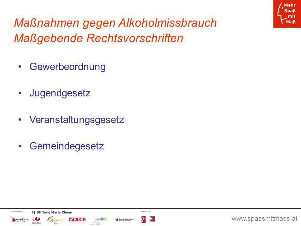 Maßnahmen gegen Alkoholmissbrauch Maßgebende Rechtsvorschriften