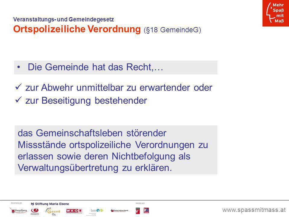 Ortspolizeiliche Verordnung (§18 GemeindeG)