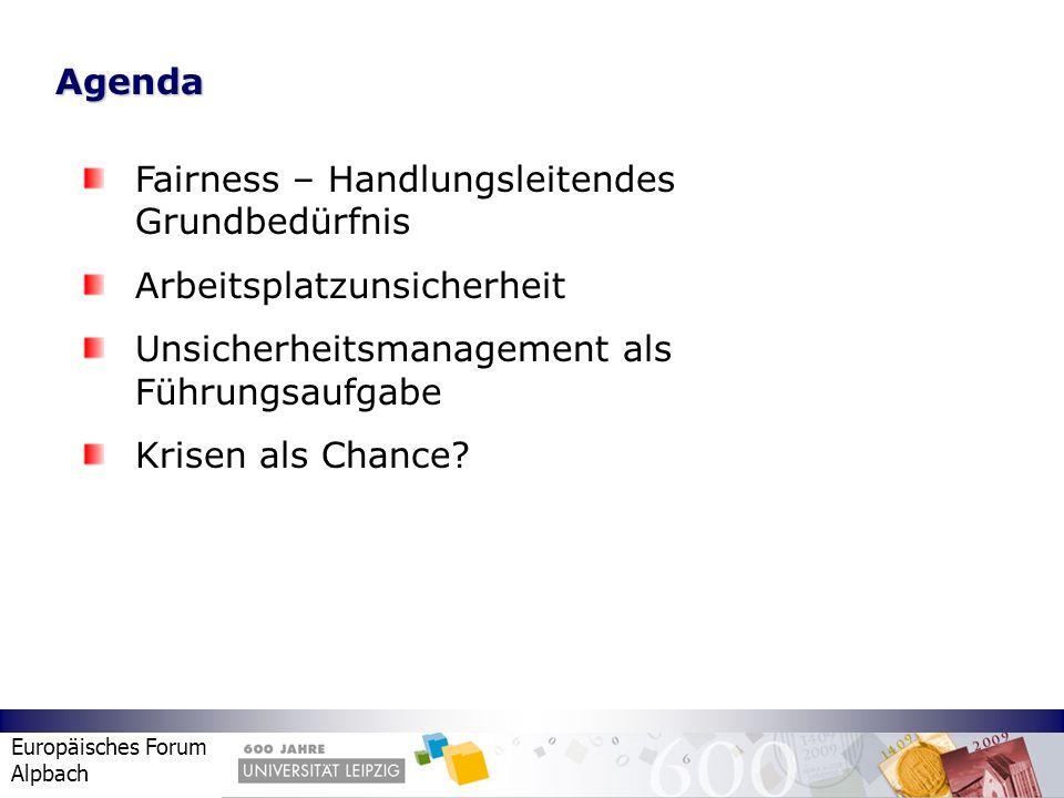Agenda Fairness – Handlungsleitendes Grundbedürfnis. Arbeitsplatzunsicherheit. Unsicherheitsmanagement als Führungsaufgabe.