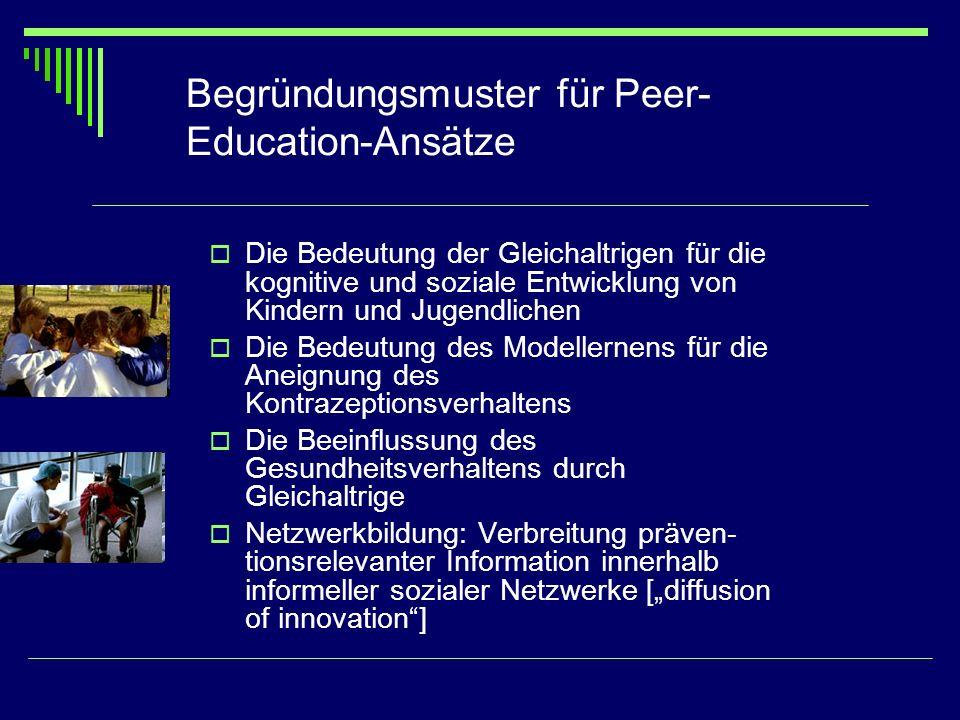 Begründungsmuster für Peer-Education-Ansätze