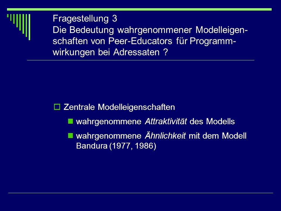 Fragestellung 3 Die Bedeutung wahrgenommener Modelleigen-schaften von Peer-Educators für Programm-wirkungen bei Adressaten