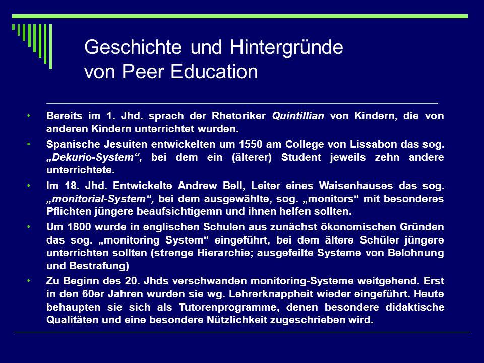 Geschichte und Hintergründe von Peer Education